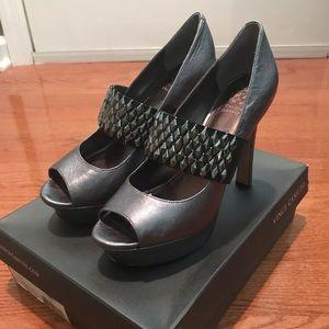 Vince Camuto silver platform heel